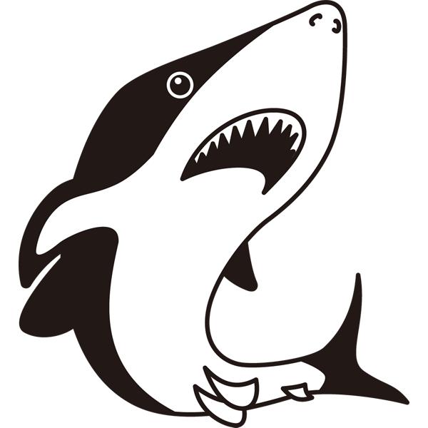 動物 サメ(モノクロ)