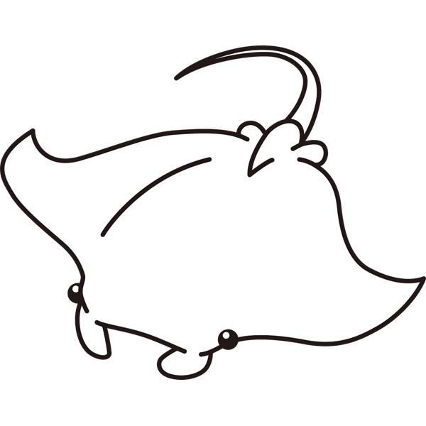 動物 エイ(モノクロ)