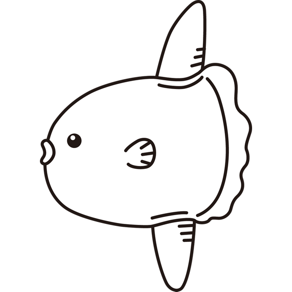 動物 魚(マンボウ)(モノクロ)