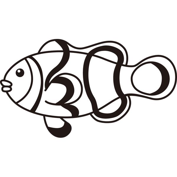 動物 魚(クマノミ)(モノクロ)