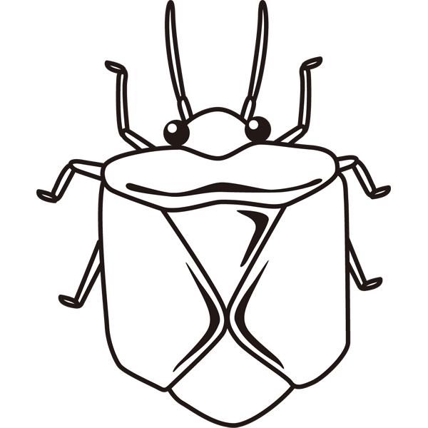 動物 虫(カナブン)(モノクロ)