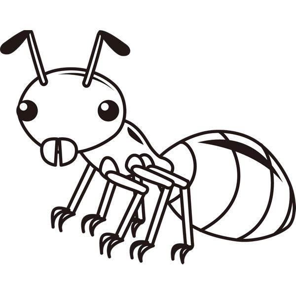 動物 虫(アリ)(モノクロ)