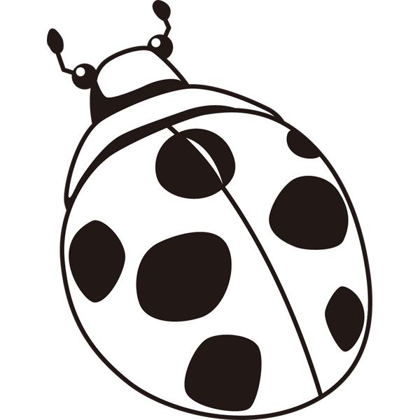 動物 虫(テントウムシ)(モノクロ)