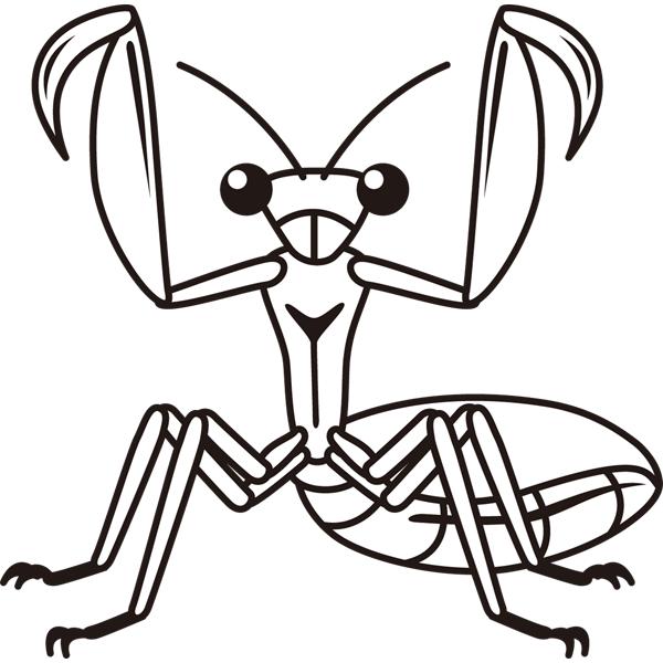 動物 虫(カマキリ)(モノクロ)