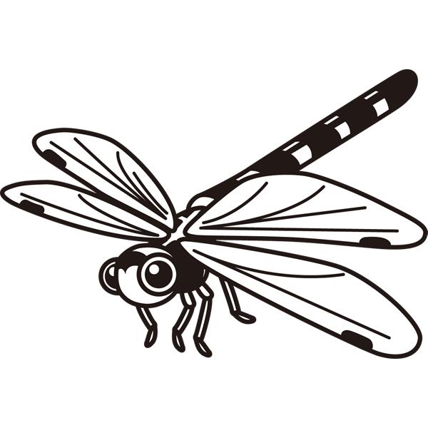 動物 虫(トンボ)(モノクロ)