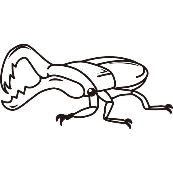 動物 虫(クワガタ)(モノクロ)