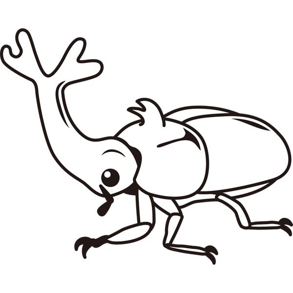 動物 虫(カブトムシ)(モノクロ)