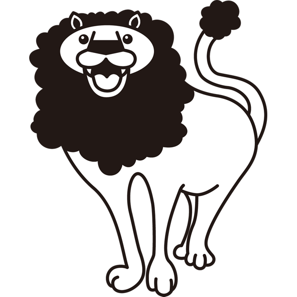 動物 ライオン(モノクロ)