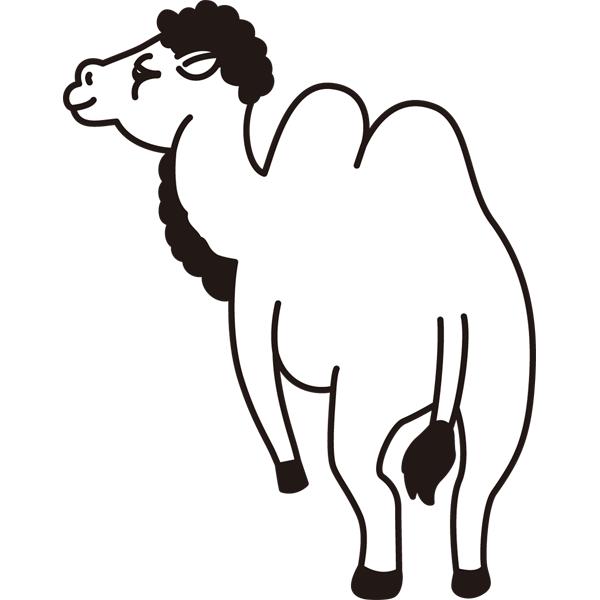 動物 ラクダ(モノクロ)