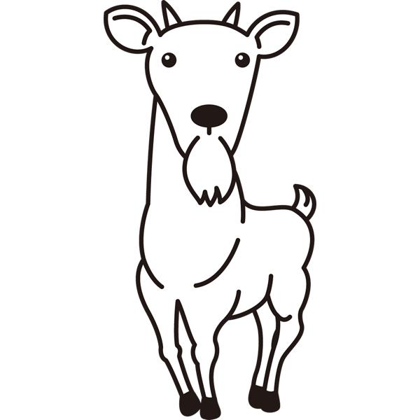 動物 ヤギ(モノクロ)