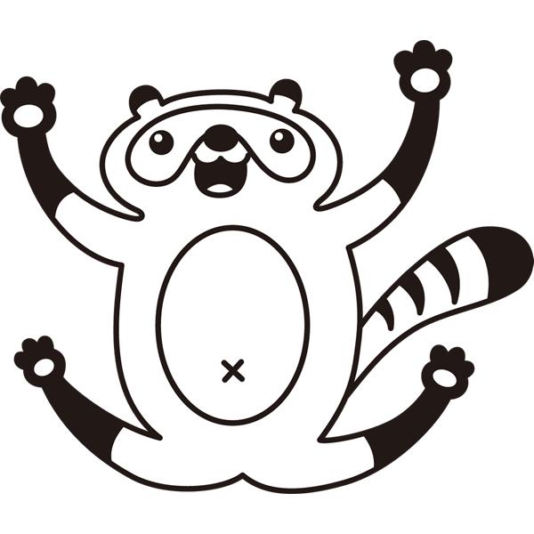 動物 たぬき(モノクロ)