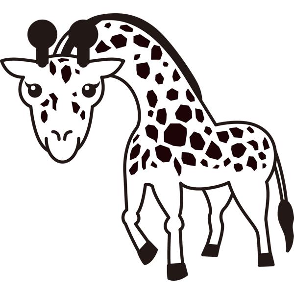 動物 キリン(モノクロ)