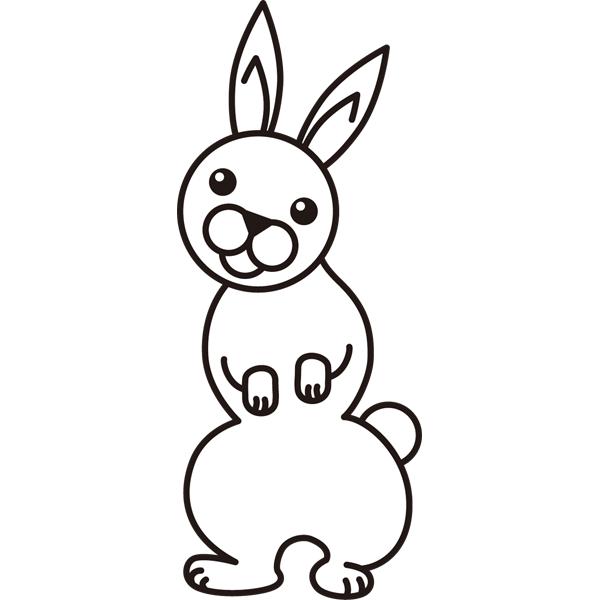 動物 ウサギ(モノクロ)