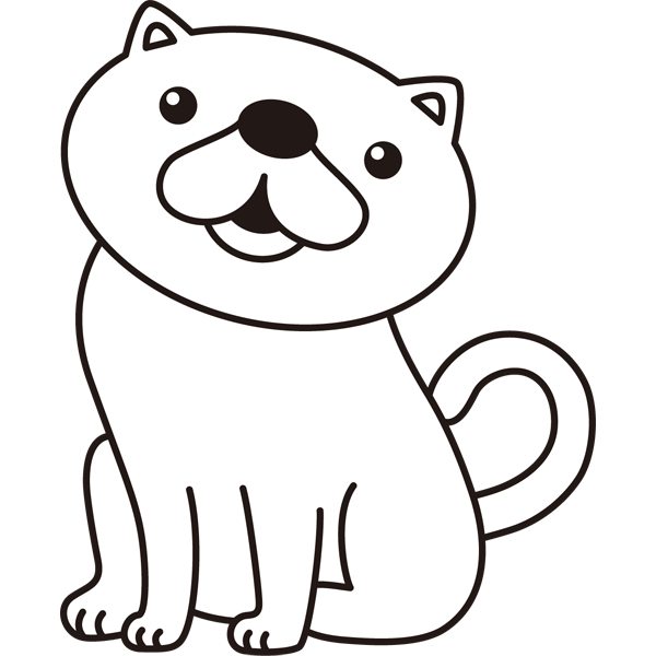 動物 ネコ(モノクロ)