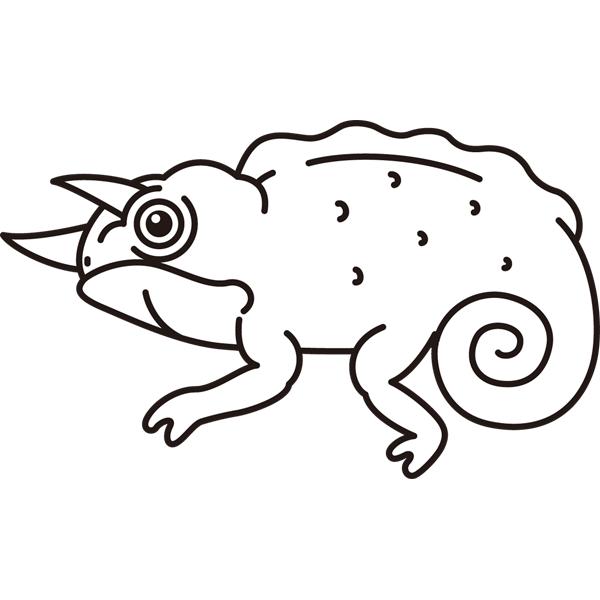 動物 カメレオン(モノクロ)