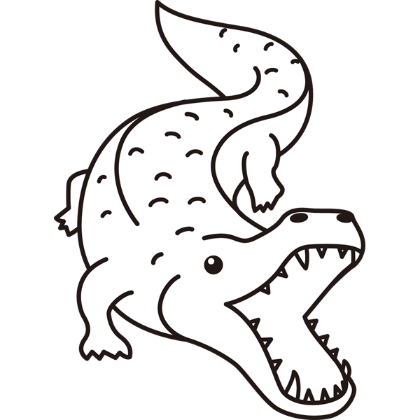 動物 ワニ(モノクロ)