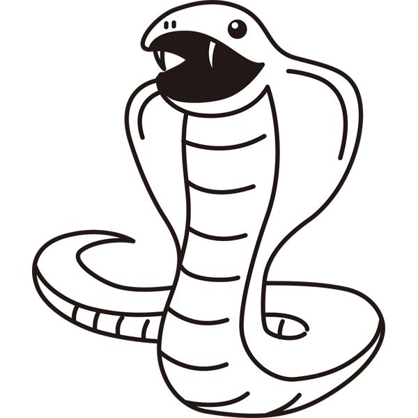 動物 ヘビ(モノクロ)