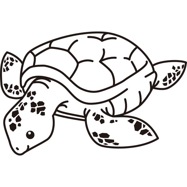 動物 カメ(モノクロ)