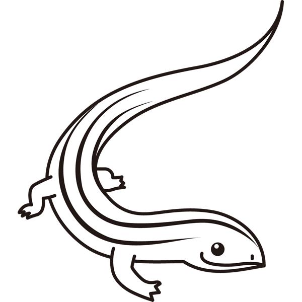 動物 トカゲ(モノクロ)