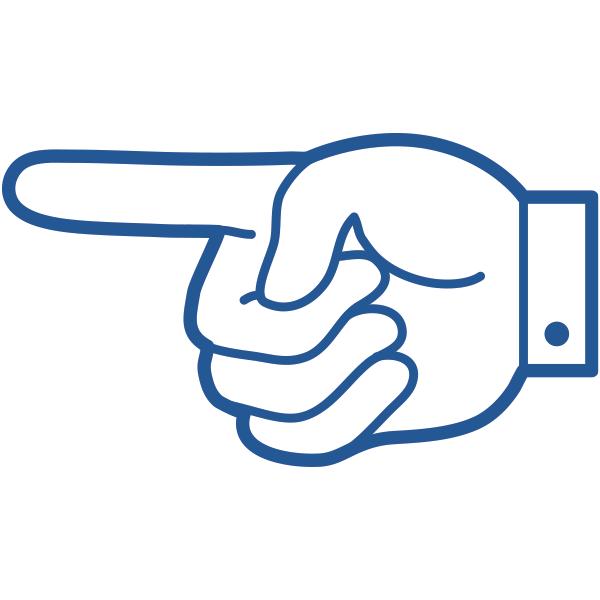 ビジネスアイコン 指さし 手のひら側(シンプル)