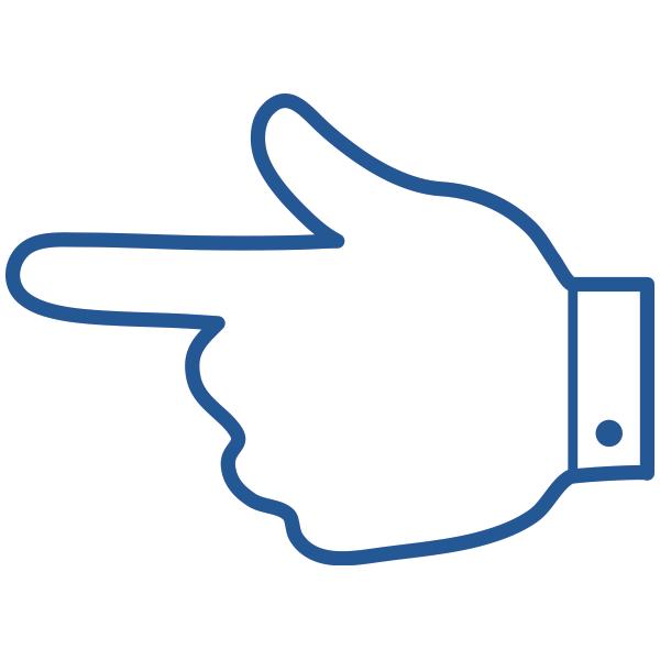 ビジネスアイコン 指さし 手の甲側(シンプル)