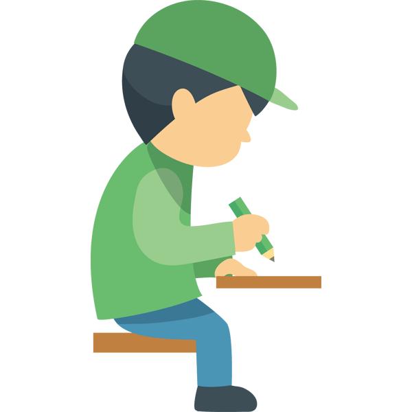 座って作業をする男性