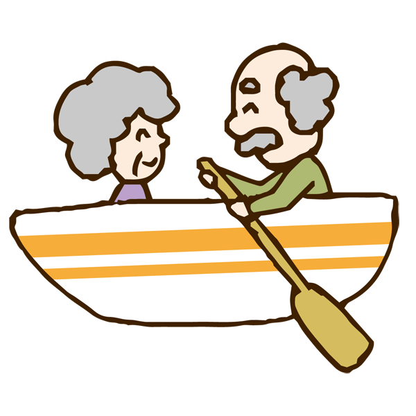 ボートに乗る老夫婦