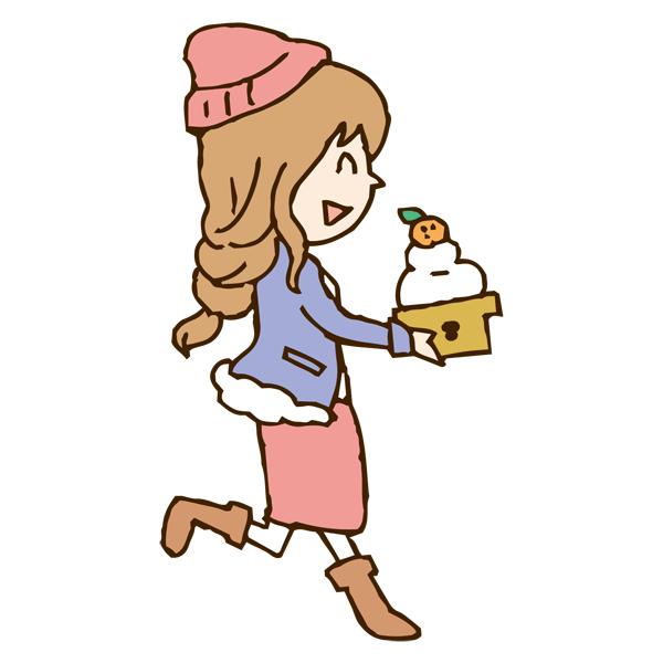 鏡餅を持つ女性