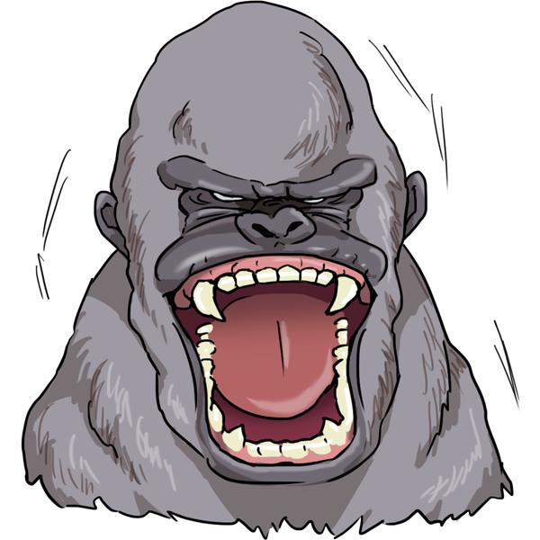 ゴリラの表情 怒り