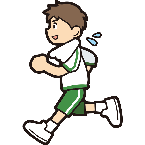 ランニングをする男の子(笑顔)(半袖)