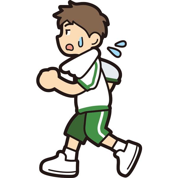 ランニングをする男の子(疲労)(半袖)