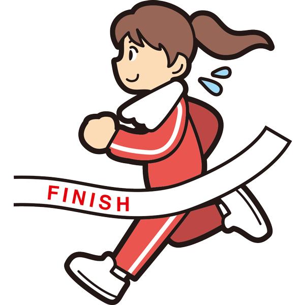 マラソンでゴールをする女の子(笑顔)