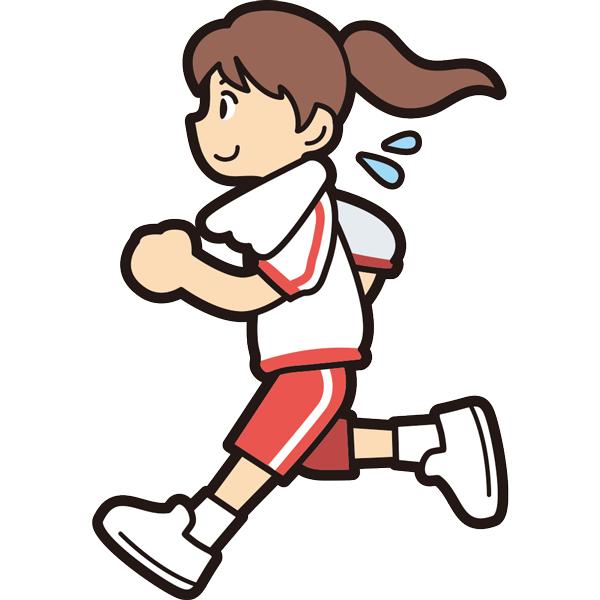 ランニングをする女の子(笑顔)(半袖)