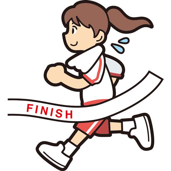マラソンでゴールをする女の子(笑顔)(半袖)