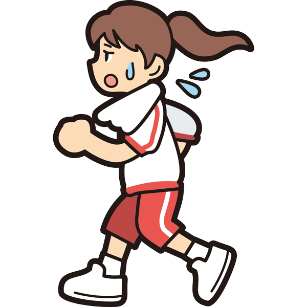 ランニングをする女の子(疲労)(半袖)