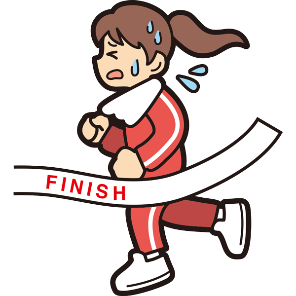 マラソンでゴールをする女の子(必死)