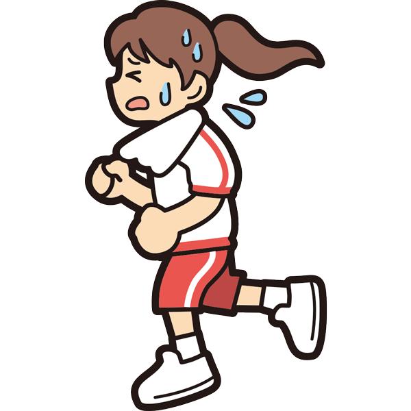 ランニングをする女の子(必死)(半袖)