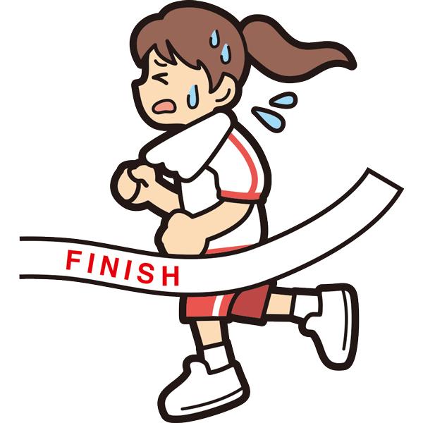 マラソンでゴールをする女の子(必死)(半袖)