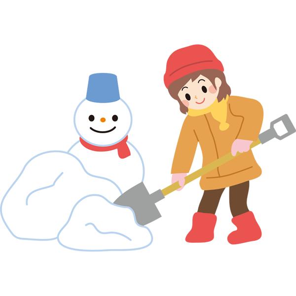 雪かき 女の子と雪だるま