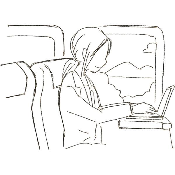 スケッチ画 新幹線でノートPC 女性