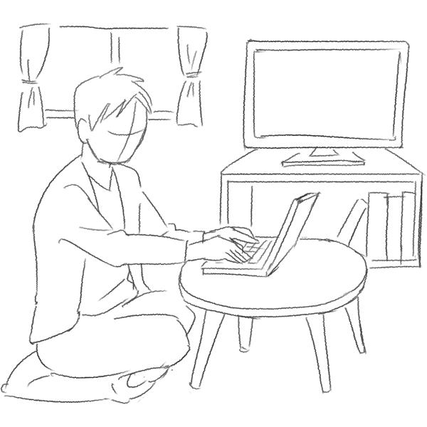 スケッチ画 自宅でノートPC 男の子