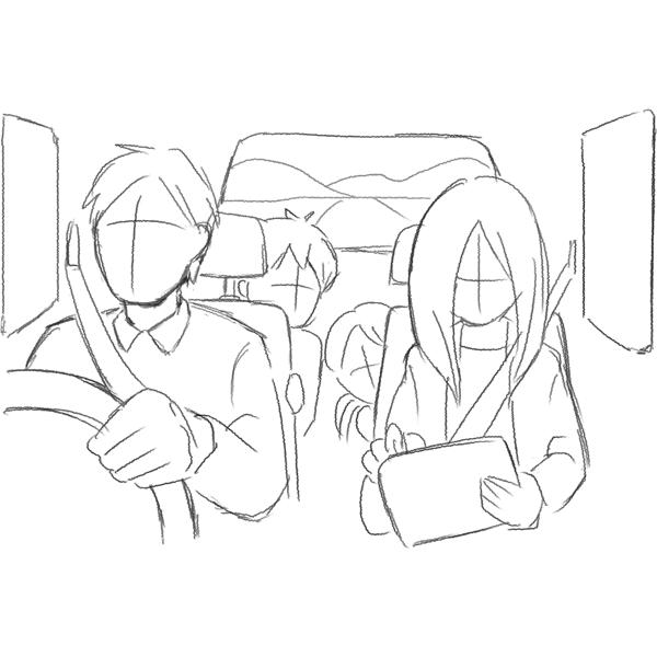 スケッチ画 車内でタブレット 家族