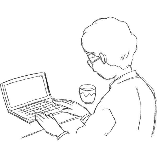 スケッチ画 ノートPCを使うお年寄り