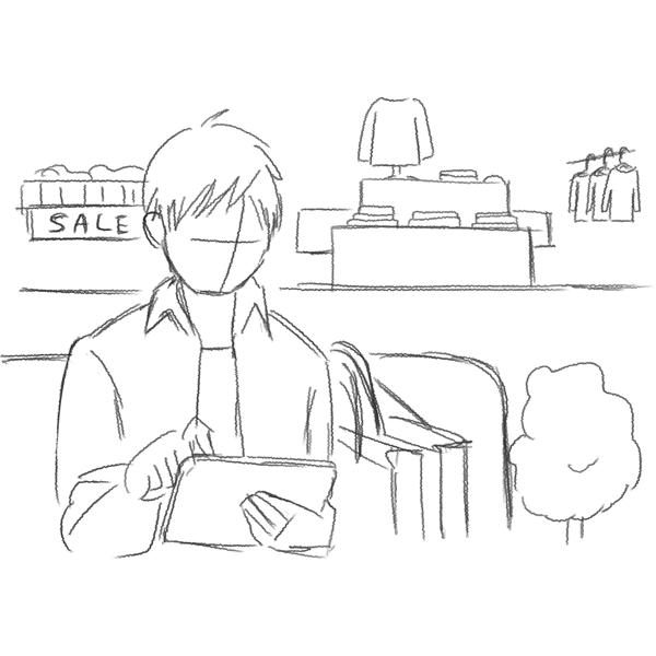 スケッチ画 買い物を待つ男性