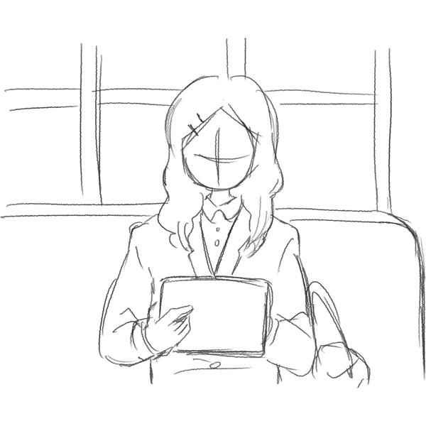 スケッチ画 電車の中でタブレット 学生