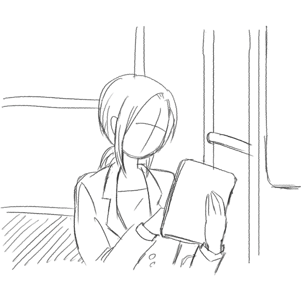 スケッチ画 電車内でタブレット 女性