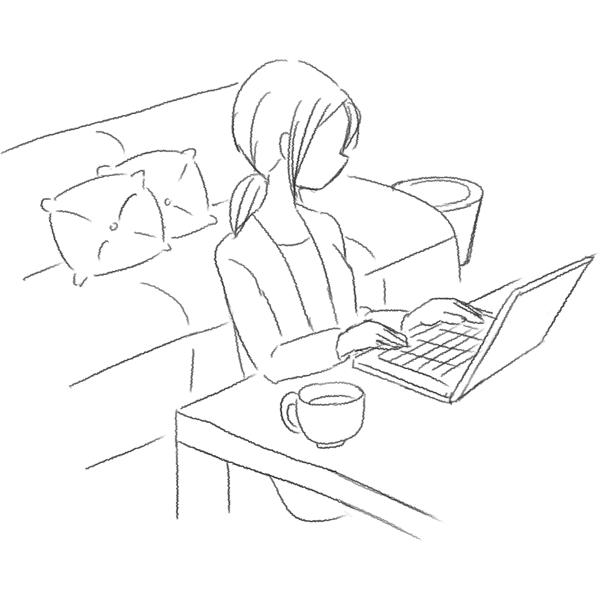 スケッチ画 自宅でノートPC 女性