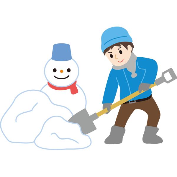 雪かき 男の子と雪だるま