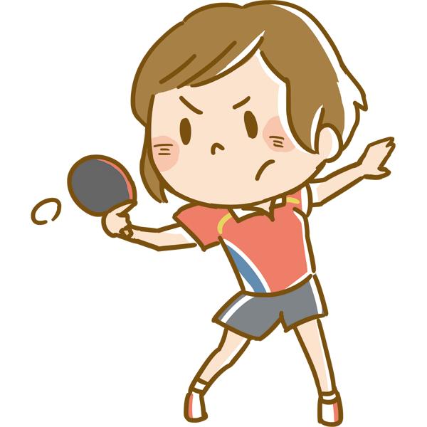 競技 卓球をする女性