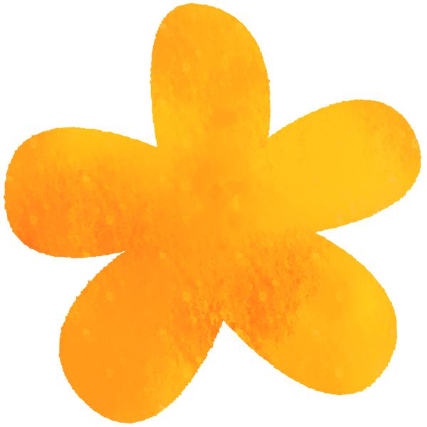 花 (水彩・オレンジ)